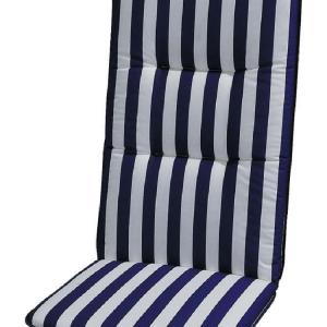 Stoelkussen Basic Line - blauw/wit gestreept - kussen voor stoel met hoge leuning - 120x50cm