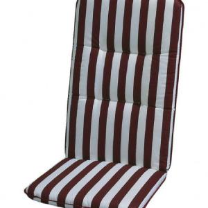 Stoelkussen Basic Line - wit/bordeauxrood gestreept - kussen voor stoel met leuning - 100x50cm