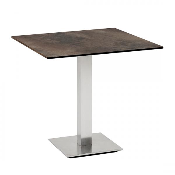 Tafel Storen I - bruin - geborsteld roestvrij staal - 120x80cm
