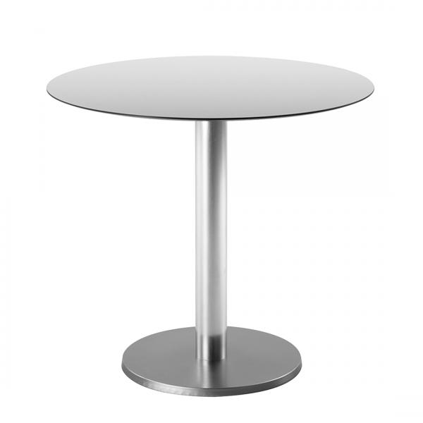 Bistrotafel Turin - aluminium/HPL-laminaat - roestvrij staal look/antieke look