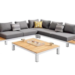 Polo hoek loungeset 4-delig wit aluminium grijs textileen - Tuinmeubelendeal.nl