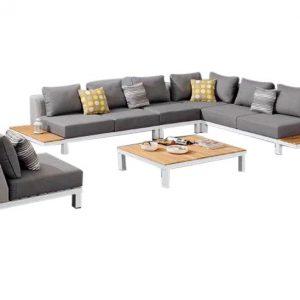 Polo hoek loungeset 6-delig wit aluminium grijs textileen - Tuinmeubelendeal.nl